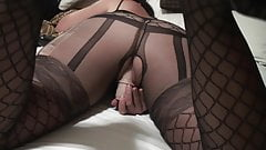Wife in black lingerie enjoys her dildo doggystyle entry