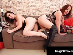 Scissor Fuckers Maggie Green & Sara Jay Fondle Tits & More!