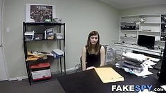 Young babe swallows future boss cum after POV banging