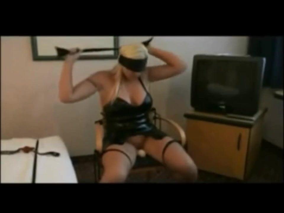 Self bondage and blindfold