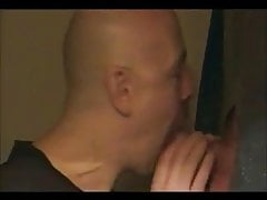 Hot sucking action at the homemade glory hole 16
