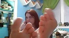 girl feet on web cam