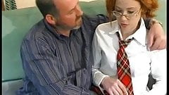 Redhead teen with glasses in school uniform fucked