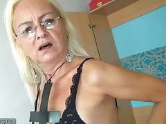 OldNannY Older Blonde and Teen Lesbian Strapon
