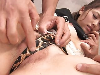 Cute little whore takes it from behind while sucking another cock