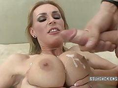 Mature slut Tanya Tate fucks and takes the cum on her tits