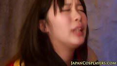 Cosplay asian spitroasted in threeway