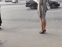 Upskirt High Heels Pantyhose Getting on Bus