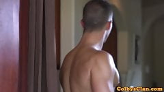 Athletic gardener pounds ass in the kitchen