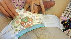 Boy in diapers get a hand job and cums
