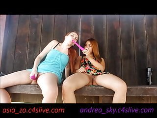 andrea sky and asia zo public park masturbation