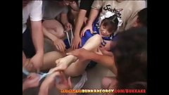 Chun-Li Cosplay Japanese Babe groped in huge bukkake gangban