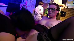 Bisexual babes fucking in public