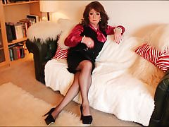 pink blouse black waistcoat & blacck satin skirt