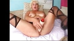 Busty Blonde Mature in Stockings Fucks