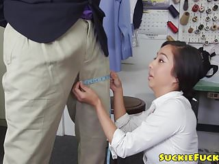 Threeway fucked asian babe gets cum in mouth
