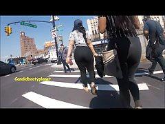 Amazing Twin Latina Candid Phat Booties in See-thru Leggings