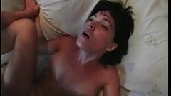 Sexy brunette with cute tan lines gets her ass jammed with cock