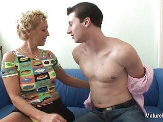 Blonde mature fucks him 'til he cums on her tits
