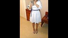 Cum on her wedges sandals in hotel