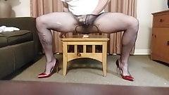 Fucking my pantyhose ass with a huge dildo and cum