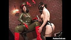 Military Babe RubberDoll Slaps Ruby Luster With Riding Crop!