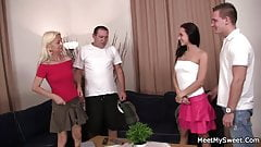 Lovely threesome with old couple and teen