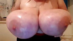 Ice cube on huge white tits , biggest boobs ever