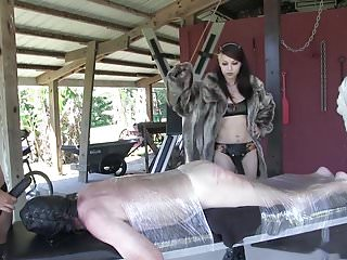 Cruel caning by three mistresses