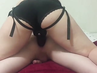 Black strapon from angry mistress