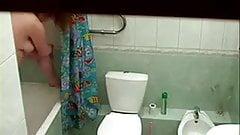 My chubby girlfriend in bathroom spied with hidden cam
