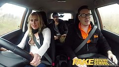 Fake Driving School Horny blonde American learners squirting