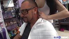 Samantha brunette hairdresser fucked in her hair salon