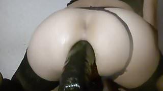 Sissy anal huge dildo gape!