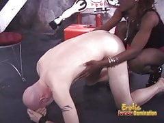 Slim ebony dominatrix pleasures a horny dude in the dungeon's Thumb