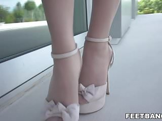 Preview 1 of Sexy foot fetish on a balcony - Dominica Fox & Kristof Cale