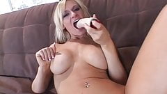 Horny busty blonde strips to fondle her pussy and tits