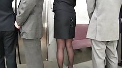 Cum on japanes office worker's skirt in public bukkake 3