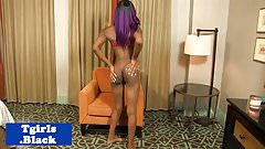 Nubian tgirl sensually pleasuring herself
