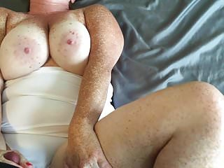 Redhead fucking in white thong cum on boobs and panties