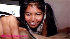 HD Thai Teen Heather Deep gives deepthroat throatpie