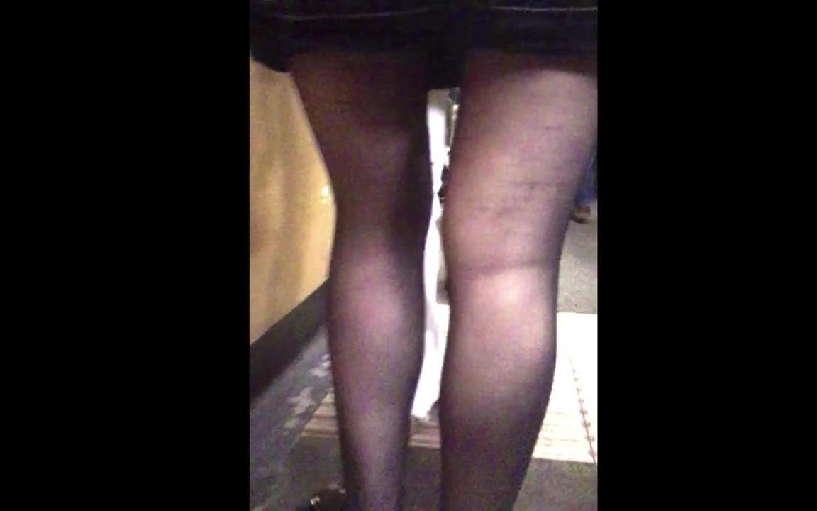 Office miniskirt sheer tights candid