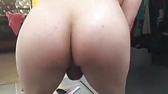 White Slow Motion Twerk Ass Clap With Small Uncut Cock