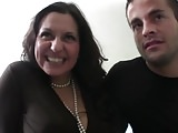 Flirting and fucking a mature brunette
