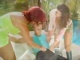 Guy fucking two busty girls outdoors FFM