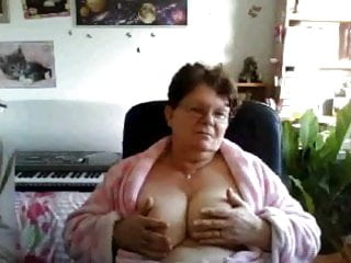 amateur my big tit grandma flashes her tits