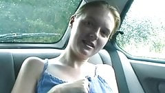 Emma flashes tits and knickers in the back of car