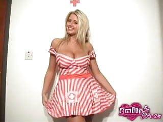 Busty teen EmilysDream dresses up as a kinky nurse