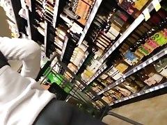 Pawg teen shopping in grey see through legging