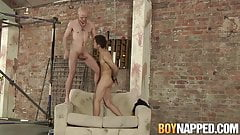 Chained twink Kimi Monroe throated and eats maledom armpits